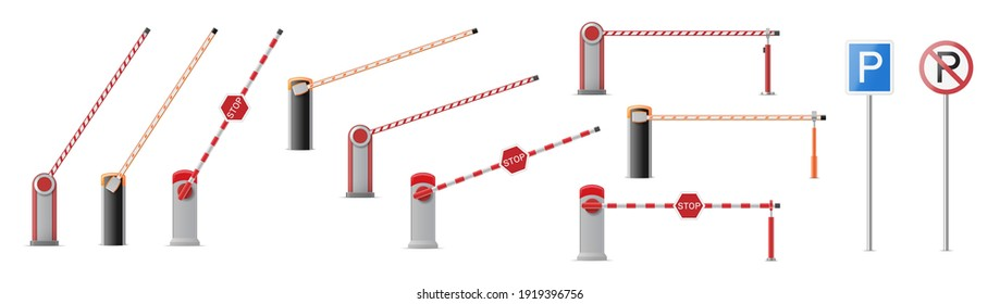 Set of open and closed parking car barrier gate with stop and park signs isolated on white background. Street road stop border. 3d vector illustration
