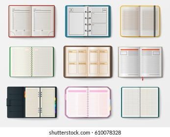 Set of open realistic notebooks with pages diary office sheet template booklet and blank paper education copybook organizer vector illustration.