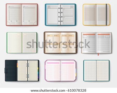 set open realistic notebooks pages diary のベクター画像素材