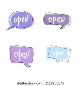 Set of Open singboards isolated on white background. Vector illustration.