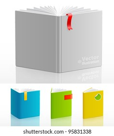 Set of open standing books. Vector illustration.