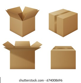 Set of opened and closed cardboard boxes, collection of mockups, delivery packaging set. EPS 10 contains transparency.