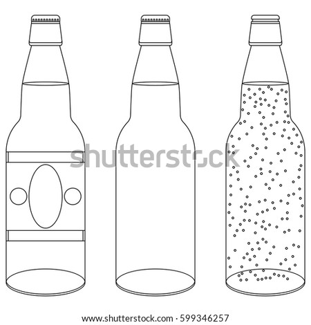 set opened closed transparent outline bottles stock vector royalty
