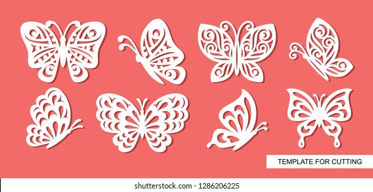 Set of openwork butterflies. Template for laser cut, wood carving, paper cutting and printing. Vector illustration.