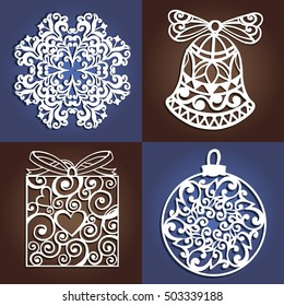 Set of openwork Christmas decorations. Laser cutting template. Christmas gift for wood carving, paper cutting and christmas decorations.