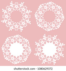 Set of openwork floral wreaths. Laser cutting vector templates.