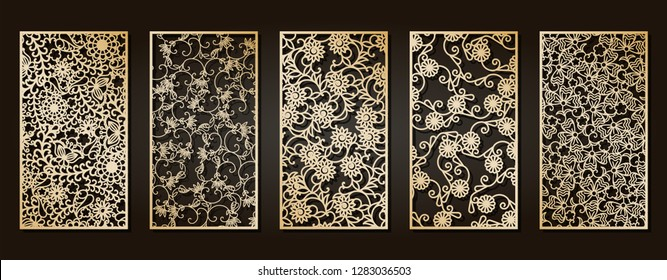 Set of openwork panels for laser cutting. Carved decorative element for interior design, room partition, screen, privacy panel.