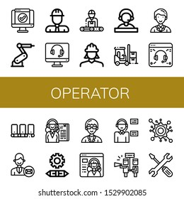 Set of operator icons. Such as Service, Industrial robot, Engineer, Support, Receptionist, Forklift, Secretary, Conveyor, Support services, Engineering, Technician , operator icons