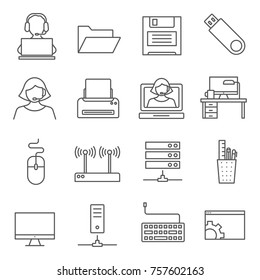 Set of operator PC Related Vector Line Icons. Includes such Icons as system administrator, computer technology, PC user, local network