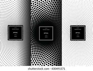 Set of optical art patterns for background and stickers with logos. Vector packaging design elements and templates.