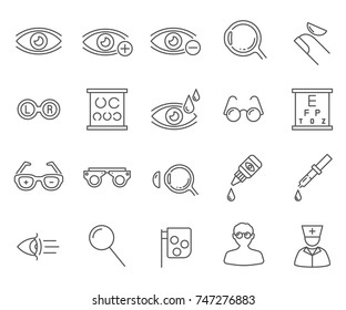 Set of optometry Related Vector Line Icons.Includes such Icons as vision, glasses, lenses, vision correction, eye socket, hyperopia, myopia, optics, ophthalmologist and more.
