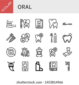 Set of oral icons such as Toothbrush, Tooth Brush, Broken tooth, Dental record, Teeth, Tooth, Toothbrushing, Mouthwash, Inhaler , oral