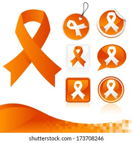 Set of orange awareness ribbons for various causes