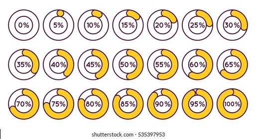 Set of orange circle percentage diagrams for infographics, 0 5 10 15 20 25 30 35 40 45 50 55 60 65 70 75 80 85 90 95 100 percent. Vector illustration.