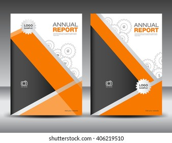 Set Orange Cover Template, annual report, brochure flyer, presentation, book, polygon background, poster