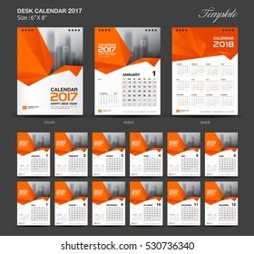 Set Orange Desk Calendar 2017 year size  6 x 8 inch template, Set of 12 Months, Week Starts Monday, flyer design