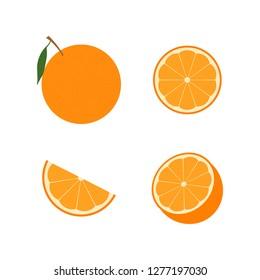 Set of orange fruit : half , slime, piece, orange in peel. Vector illustration. Flat design for business financial marketing banking advertising web concept cartoon illustration.