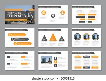 Set of orange and gray template for multipurpose presentation slides. Leaflet, annual report, book cover design.