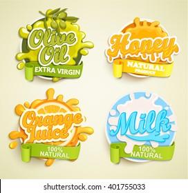 Set of orange juece, olive oil, honey, lime  labels splash. Lettering and blot design, shape creative vector illustration.