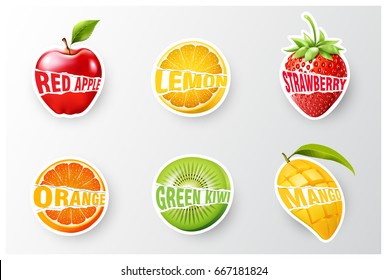 Set of orange, lemon, strawberry, kiwi, apple, mango juice,smoothie, milk, cocktail and fresh labels splash. sticker, advertisement concept vector illustration
