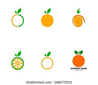 Set Of Orange Logo Design Vector Icon Illustration Design