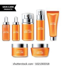 Set orange packages for face and body cosmetic. lotion, serum, oil, tube, shampoo, cream bottles vector illustration