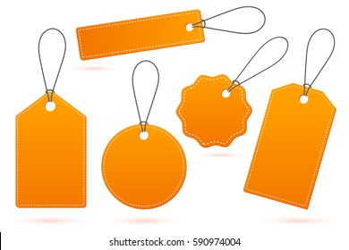 Set of orange price tags with shadow on white