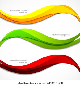 Set of orange red green banners in wavy style