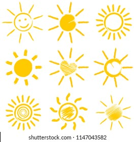set of orange sun icons vector illustration