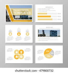 Set of orange template for multipurpose presentation slides with graphs and charts. Leaflet, annual report, book cover design.