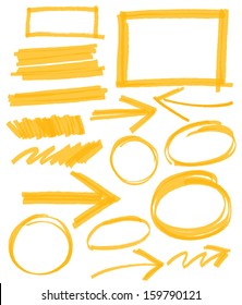 set of orange vector abstract hand-painted marker