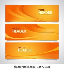 Set of orange wavy banners