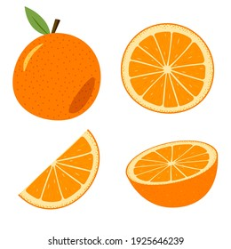 A set of orange, whole and cut. Colored cartoon orange isolated objects on a white. - Shutterstock ID 1925646239
