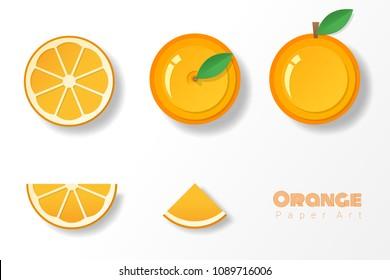 Set of oranges in paper art style , vector , illustration