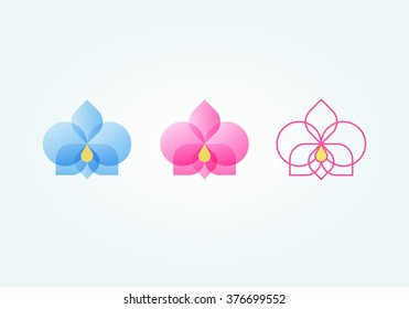 Set of orchid flower (blue, pink, lines)