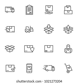 Set order and courier delivery goods vector icons. Vector line icons transport delivery and logistics, courier service, warehouse storage