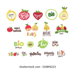 Set of organic, bio, eco and nature food logos and labels for baby food.
