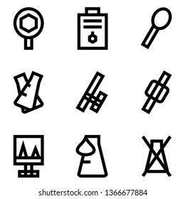 Set of Organic Chemistry , Chemical, Laboratory Outline Style Icon Vector - Vector