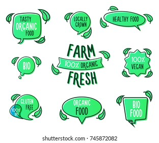 Set of organic, ecology, healthy, vegan, farm fresh tags, logos, speech bubble shapes. Vector elements