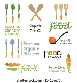 Set of organic food badges and labels