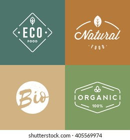 Set of organic food badges. Retro organic logo