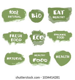 Set of Organic Food doodle banners. Handwritten lettering isolated on white background. Element for graphic design - emblem, poster, flyer, tag, menu. Vector illustration.