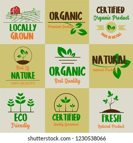 Set of Organic food, farm fresh and natural product icons and elements collection for food market, ecommerce, organic products promotion, healthy life and premium quality food and drink.