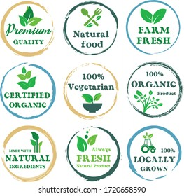 Set Organic food, farm fresh and natural product icons and elements collection for food market, ecommerce,  organic or nayural products promotion, healthy life and premium quality food and drink.