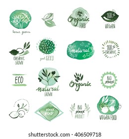 Set of organic food hand drawn watercolor stickers and badges. Vector illustrations for organic food and drink, restaurant and organic products.