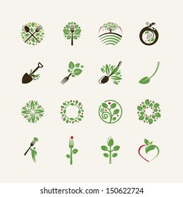 Set of organic food icons for the restaurants, food production, organic products