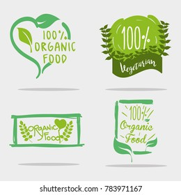 set organic food message with natuals leaves