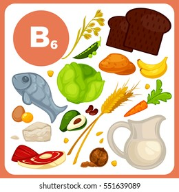Set of organic food with vitamin B6. Ingredients for health: banana and avocado, fish, bread, potato, cabbage, walnut and wheat. Healthy nutrition, diet with B 6 sources. Vector icons  cartoon design