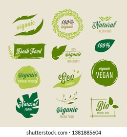 set of Organic label and natural label green color design. Tag and Sticker Farm fresh logo vegan food mark guaranteed.