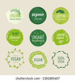 set of Organic labels and natural labels green color design. Tag and Sticker Farm fresh logo vegan food mark guaranteed.